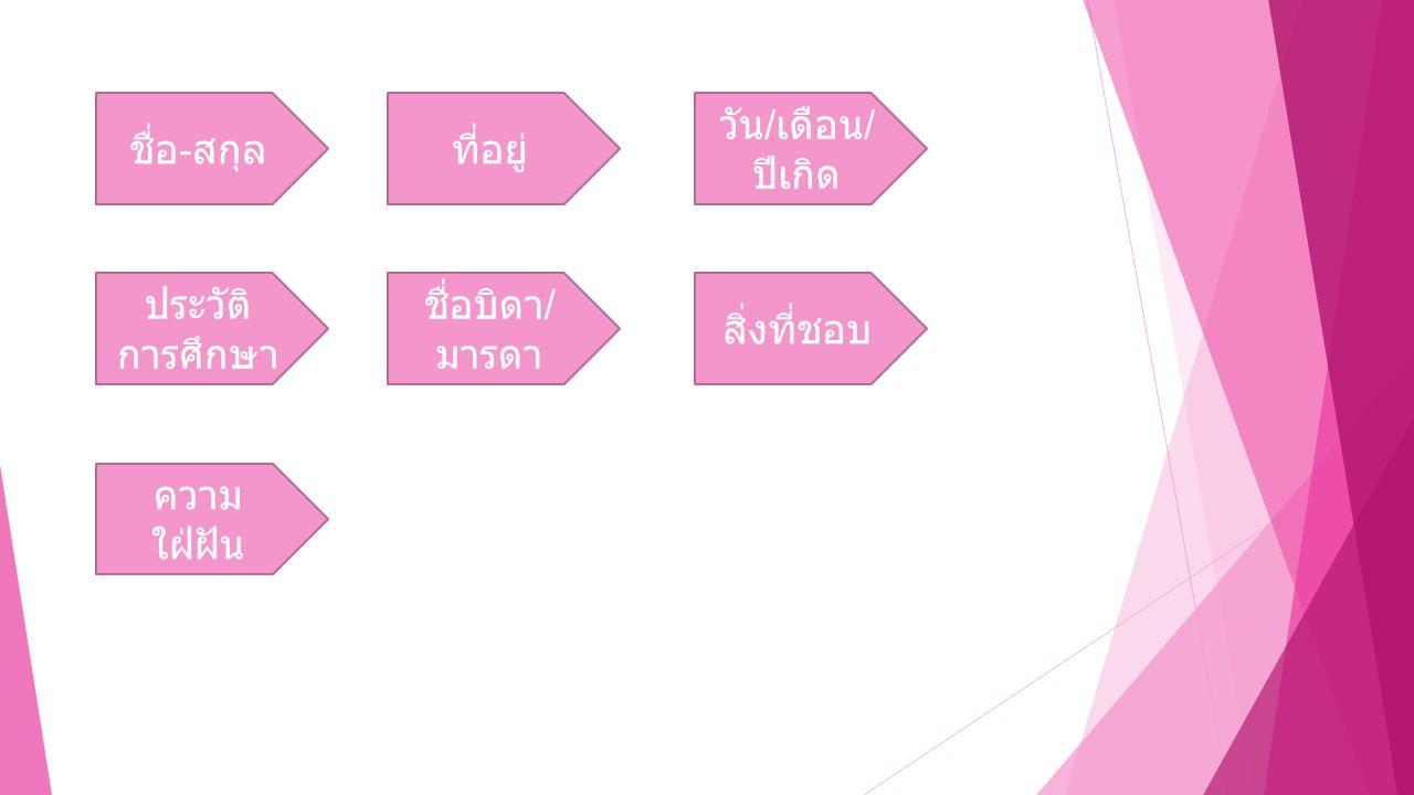 ชื่อบิดา / มารดา ที่อยู่ วัน / เดือน / ปีเกิด ชื่อ - สกุล สิ่งที่ชอบ ความ ใฝ่ฝัน ประวัติ การศึกษา