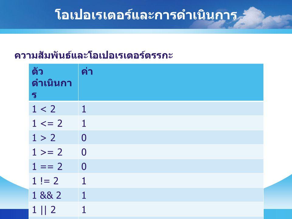 โอเปอเรเตอร์และการดำเนินการ ICT, University of Phayao12 ความสัมพันธ์และโอเปอเรเตอร์ตรรกะ ตัว ดำเนินกา ร ค่า 1 < 21 1 <= 21 1 > 20 1 >= 20 1 == 20 1 != 21 1 && 21 1 || 21 !true0