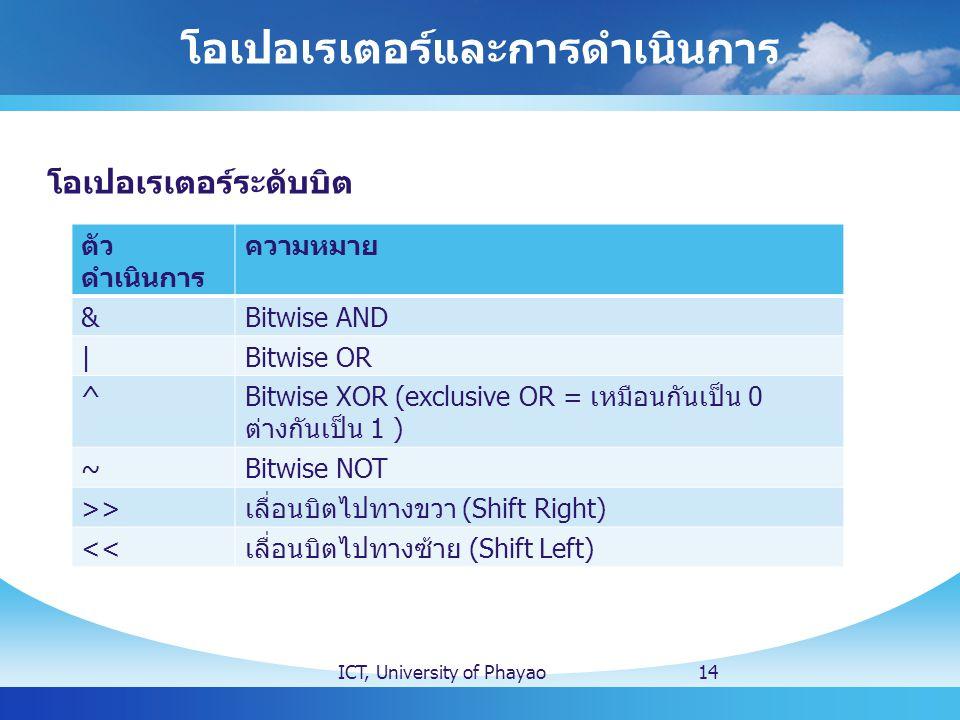 โอเปอเรเตอร์และการดำเนินการ ICT, University of Phayao14 โอเปอเรเตอร์ระดับบิต ตัว ดำเนินการ ความหมาย &Bitwise AND |Bitwise OR ^ Bitwise XOR (exclusive OR = เหมือนกันเป็น 0 ต่างกันเป็น 1 ) ~Bitwise NOT >> เลื่อนบิตไปทางขวา (Shift Right) << เลื่อนบิตไปทางซ้าย (Shift Left)