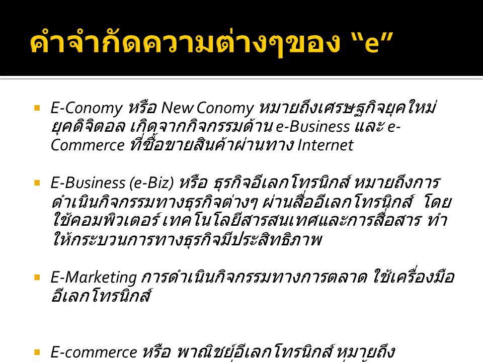  E-Conomy หรือ New Conomy หมายถึงเศรษฐกิจยุคใหม่ ยุคดิจิตอล เกิดจากกิจกรรมด้าน e-Business และ e- Commerce ที่ซื้อขายสินค้าผ่านทาง Internet  E-Business (e-Biz) หรือ ธุรกิจอีเลกโทรนิกส์ หมายถึงการ ดำเนินกิจกรรมทางธุรกิจต่างๆ ผ่านสื่ออีเลกโทรนิกส์ โดย ใช้คอมพิวเตอร์ เทคโนโลยีสารสนเทศและการสื่อสาร ทำ ให้กระบวนการทางธุรกิจมีประสิทธิภาพ  E-Marketing การดำเนินกิจกรรมทางการตลาด ใช้เครื่องมือ อีเลกโทรนิกส์  E-commerce หรือ พาณิชย์อีเลกโทรนิกส์ หมายถึง เทคโนโลยีคอมพิวเตอร์ที่ช่วยให้เกิดการสั่งซื้อ การขาย สินค้าและชำระเงินผ่านระบบ Internet ตลอดจนการขนส่ง ถึงมือลูกค้า