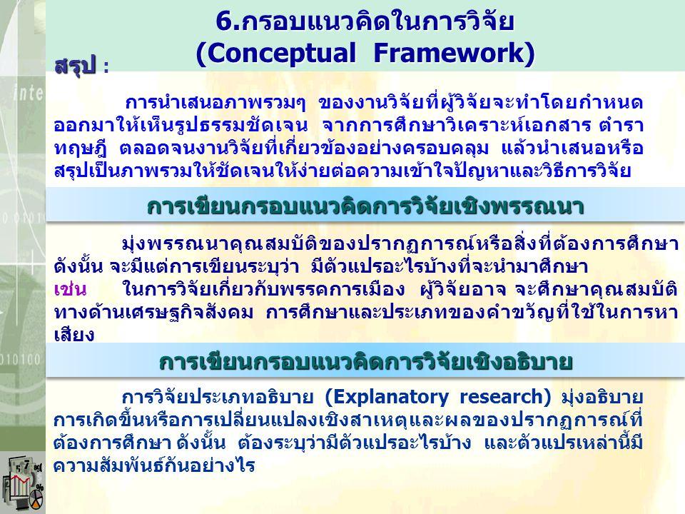 6.กรอบแนวคิดในการวิจัย (Conceptual Framework) สรุป สรุป : การนำเสนอภาพรวมๆ ของงานวิจัยที่ผู้วิจัยจะทำโดยกำหนด ออกมาให้เห็นรูปธรรมชัดเจน จากการศึกษาวิเ