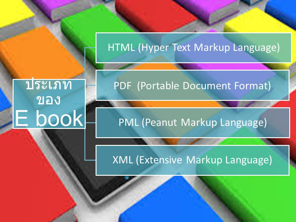 ประเภท ของ E book HTML (Hyper Text Markup Language) PDF (Portable Document Format) PML (Peanut Markup Language) XML (Extensive Markup Language)