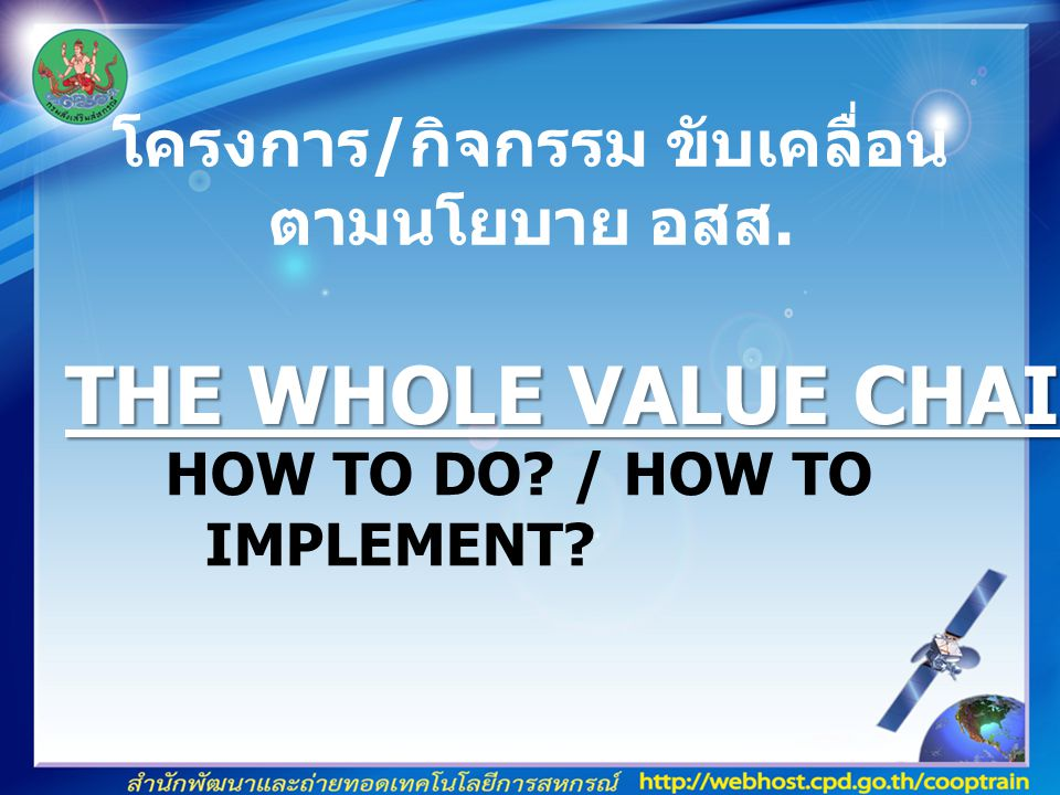 HOW TO DO./ HOW TO IMPLEMENT. โครงการ / กิจกรรม ขับเคลื่อน ตามนโยบาย อสส.