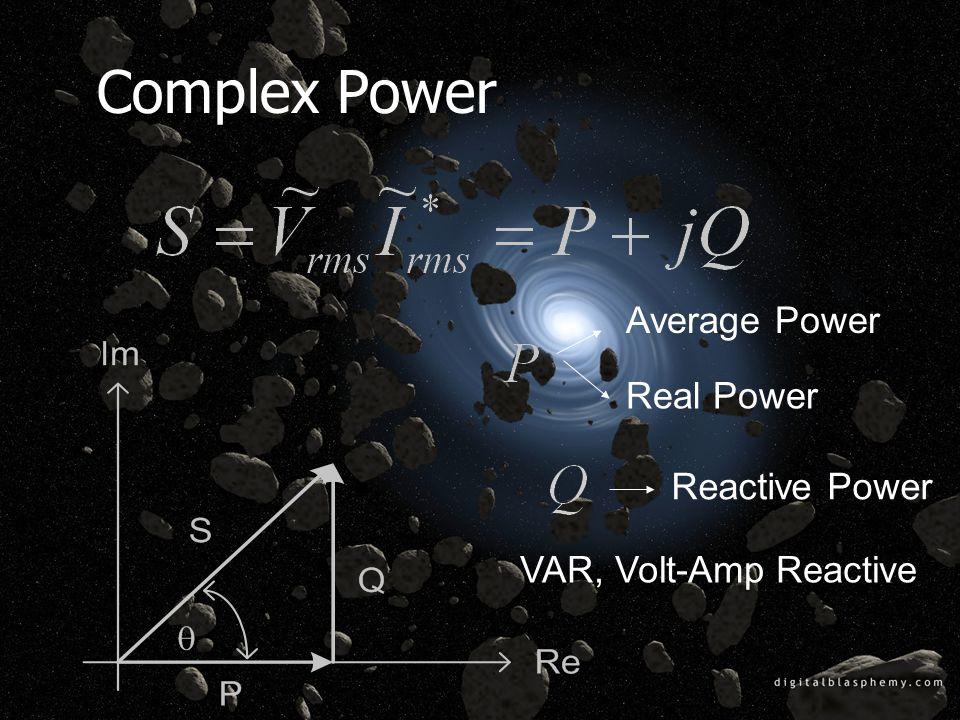 Complex Power Average Power Real Power Reactive Power VAR, Volt-Amp Reactive