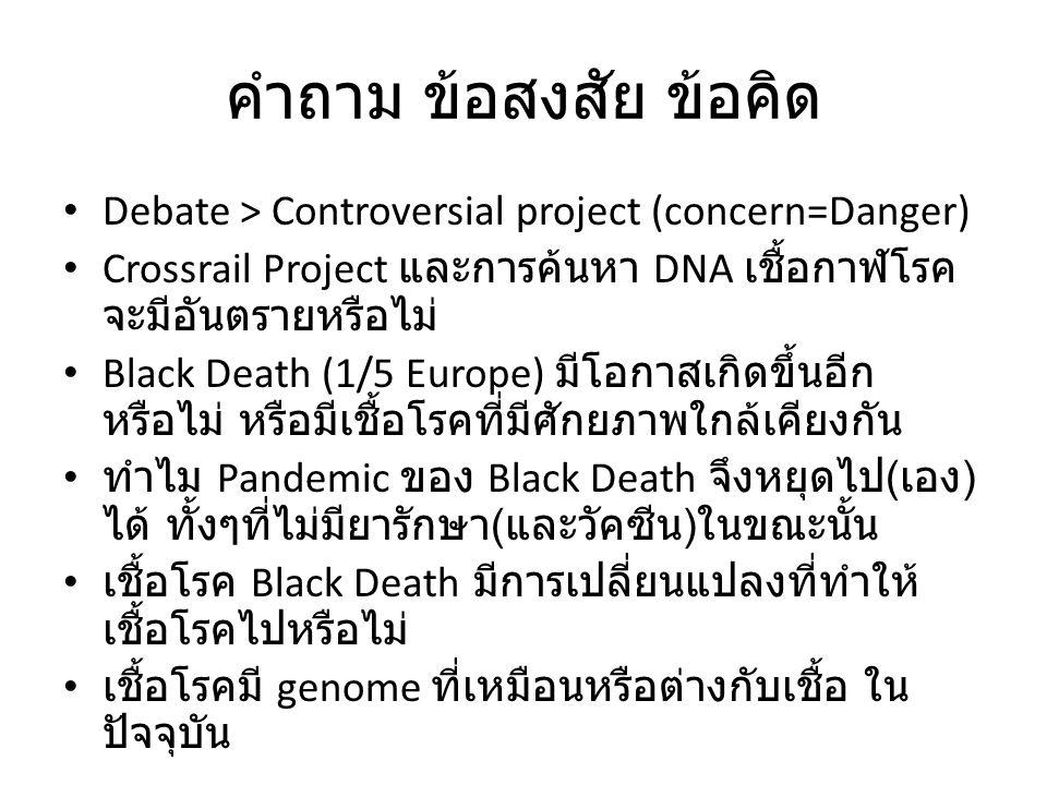 คำถาม ข้อสงสัย ข้อคิด Debate > Controversial project (concern=Danger) Crossrail Project และการค้นหา DNA เชื้อกาฬโรค จะมีอันตรายหรือไม่ Black Death (1/5 Europe) มีโอกาสเกิดขึ้นอีก หรือไม่ หรือมีเชื้อโรคที่มีศักยภาพใกล้เคียงกัน ทำไม Pandemic ของ Black Death จึงหยุดไป ( เอง ) ได้ ทั้งๆที่ไม่มียารักษา ( และวัคซีน ) ในขณะนั้น เชื้อโรค Black Death มีการเปลี่ยนแปลงที่ทำให้ เชื้อโรคไปหรือไม่ เชื้อโรคมี genome ที่เหมือนหรือต่างกับเชื้อ ใน ปัจจุบัน