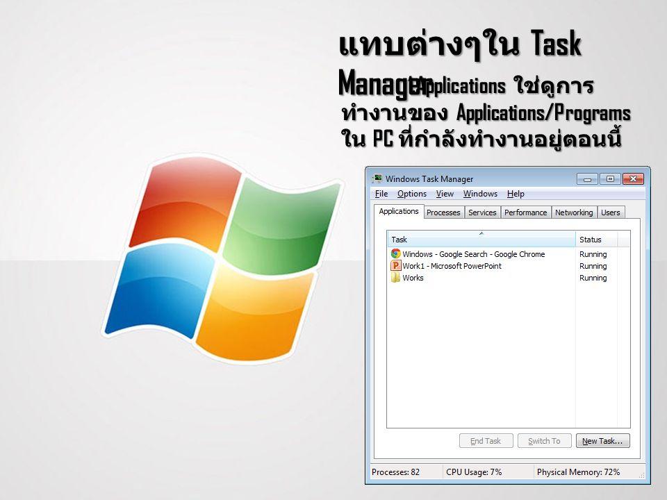 แทบต่างๆใน Task Manager 1.Applications ใช่ดูการ ทำงานของ Applications/Programs ใน PC ที่กำลังทำงานอยู่ตอนนี้