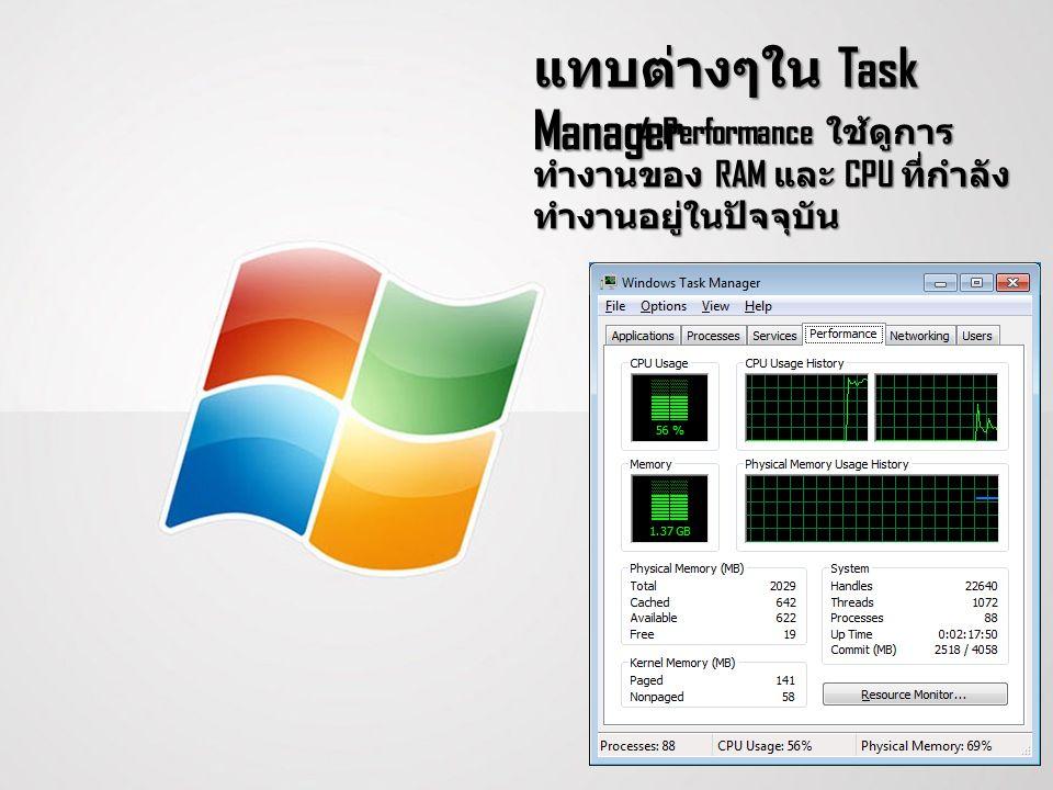 แทบต่างๆใน Task Manager 4.Performance ใช้ดูการ ทำงานของ RAM และ CPU ที่กำลัง ทำงานอยู่ในปัจจุบัน