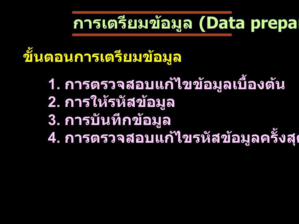 การเตรียมข้อมูล (Data preparation) ขั้นตอนการเตรียมข้อมูล 1. การตรวจสอบแก้ไขข้อมูลเบื้องต้น 2. การให้รหัสข้อมูล 3. การบันทึกข้อมูล 4. การตรวจสอบแก้ไขร