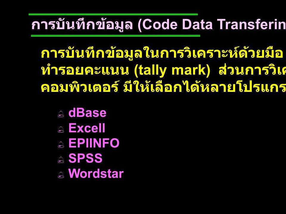 การบันทึกข้อมูล (Code Data Transfering) การบันทึกข้อมูลในการวิเคราะห์ด้วยมือ อาจกระทำโดยการ ทำรอยคะแนน (tally mark) ส่วนการวิเคราะห์ด้วยเครื่อง คอมพิว
