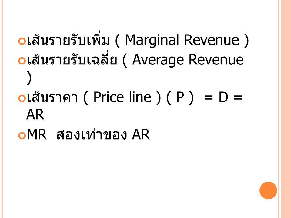 เส้นรายรับเพิ่ม ( Marginal Revenue ) เส้นรายรับเฉลี่ย ( Average Revenue ) เส้นราคา ( Price line ) ( P ) = D = AR MR สองเท่าของ AR