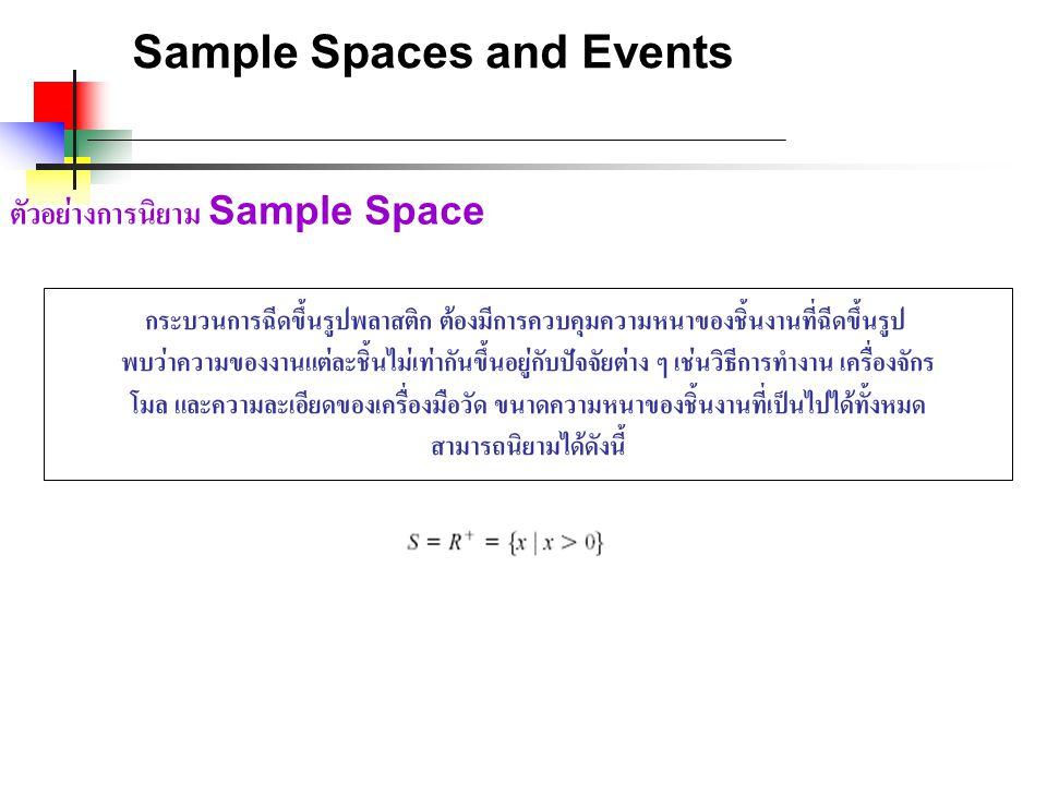 Sample Spaces and Events ตัวอย่างการนิยาม Sample Space กระบวนการฉีดขึ้นรูปพลาสติก ต้องมีการควบคุมความหนาของชิ้นงานที่ฉีดขึ้นรูป พบว่าความของงานแต่ละชิ