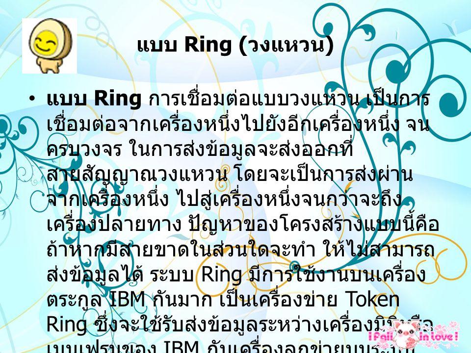 แบบ Ring ( วงแหวน ) แบบ Ring การเชื่อมต่อแบบวงแหวน เป็นการ เชื่อมต่อจากเครื่องหนึ่งไปยังอีกเครื่องหนึ่ง จน ครบวงจร ในการส่งข้อมูลจะส่งออกที่ สายสัญญาณวงแหวน โดยจะเป็นการส่งผ่าน จากเครื่องหนึ่ง ไปสู่เครื่องหนึ่งจนกว่าจะถึง เครื่องปลายทาง ปัญหาของโครงสร้างแบบนี้คือ ถ้าหากมีสายขาดในส่วนใดจะทำ ให้ไม่สามารถ ส่งข้อมูลได้ ระบบ Ring มีการใช้งานบนเครื่อง ตระกูล IBM กันมาก เป็นเครื่องข่าย Token Ring ซึ่งจะใช้รับส่งข้อมูลระหว่างเครื่องมินิหรือ เมนเฟรมของ IBM กับเครื่องลูกข่ายบนระบบ