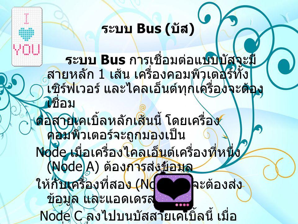 ระบบ Bus ( บัส ) ระบบ Bus การเชื่อมต่อแบบบัสจะมี สายหลัก 1 เส้น เครื่องคอมพิวเตอร์ทั้ง เซิร์ฟเวอร์ และไคลเอ็นต์ทุกเครื่องจะต้อง เชื่อม ต่อสายเคเบิ้ลหลักเส้นนี้ โดยเครื่อง คอมพิวเตอร์จะถูกมองเป็น Node เมื่อเครื่องไคลเอ็นต์เครื่องที่หนึ่ง (Node A) ต้องการส่งข้อมูล ให้กับเครื่องที่สอง (Node C) จะต้องส่ง ข้อมูล และแอดเดรสของ Node C ลงไปบนบัสสายเคเบิ้ลนี้ เมื่อ เครื่องที่ Node C ได้รับข้อมูล แล้วจะนำข้อมูล ไปทำงานต่อทันที
