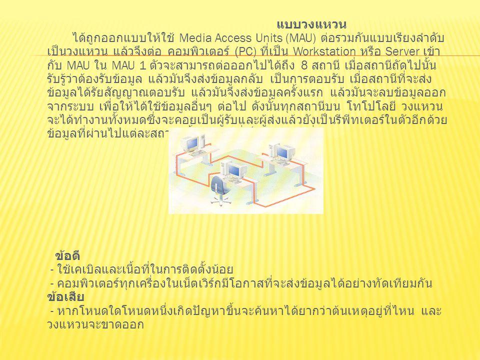 แบบวงแหวน ได้ถูกออกแบบให้ใช้ Media Access Units (MAU) ต่อรวมกันแบบเรียงลำดับ เป็นวงแหวน แล้วจึงต่อ คอมพิวเตอร์ (PC) ที่เป็น Workstation หรือ Server เข้า กับ MAU ใน MAU 1 ตัวจะสามารถต่อออกไปได้ถึง 8 สถานี เมื่อสถานีถัดไปนั้น รับรู้ว่าต้องรับข้อมูล แล้วมันจึงส่งข้อมูลกลับ เป็นการตอบรับ เมื่อสถานีที่จะส่ง ข้อมูลได้รัยสัญญาณตอบรับ แล้วมันจึงส่งข้อมูลครั้งแรก แล้วมันจะลบข้อมูลออก จากระบบ เพื่อให้ได้ใช้ข้อมูลอื่นๆ ต่อไป ดังนั้นทุกสถานีบน โทโปโลยี วงแหวน จะได้ทำงานทั้งหมดซึ่งจะคอยเป็นผู้รับและผู้ส่งแล้วยังเป็นรีพีทเตอร์ในตัวอีกด้วย ข้อมูลที่ผ่านไปแต่ละสถานี นั้น ข้อมูลที่เป็นตำแหน่งที่ ข้อดี - ใช้เคเบิลและเนื้อที่ในการติดตั้งน้อย - คอมพิวเตอร์ทุกเครื่องในเน็ตเวิร์กมีโอกาสที่จะส่งข้อมูลได้อย่างทัดเทียมกัน ข้อเสีย - หากโหนดใดโหนดหนึ่งเกิดปัญหาขึ้นจะค้นหาได้ยากว่าต้นเหตุอยู่ที่ไหน และ วงแหวนจะขาดออก