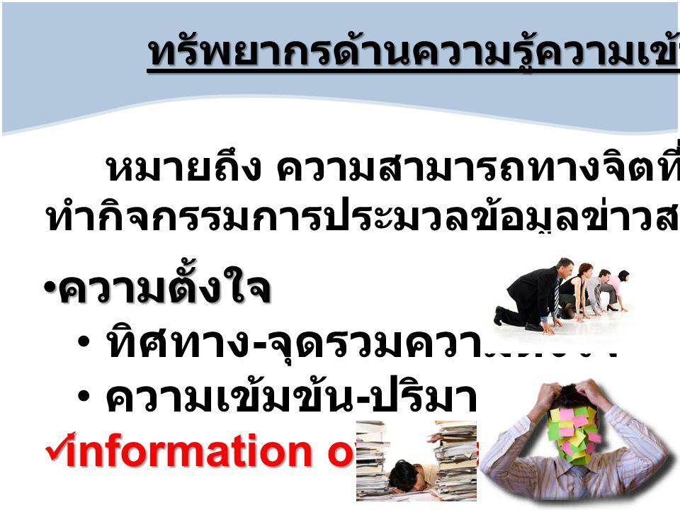 ทรัพยากรด้านความรู้ความเข้าใจ หมายถึง ความสามารถทางจิตที่มีพร้อมที่จะ ทำกิจกรรมการประมวลข้อมูลข่าวสาร ความตั้งใจ ความตั้งใจ ทิศทาง - จุดรวมความตั้งใจ ความเข้มข้น - ปริมาณ information overload information overload