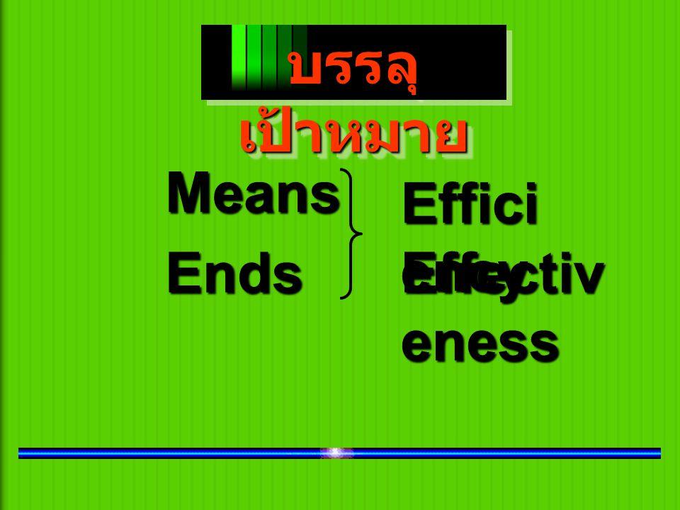 บรรลุ เป้าหมาย บรรลุ เป้าหมาย Means Ends Effici ency Effectiv eness
