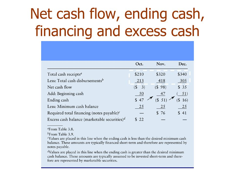 Net cash flow, ending cash, financing and excess cash