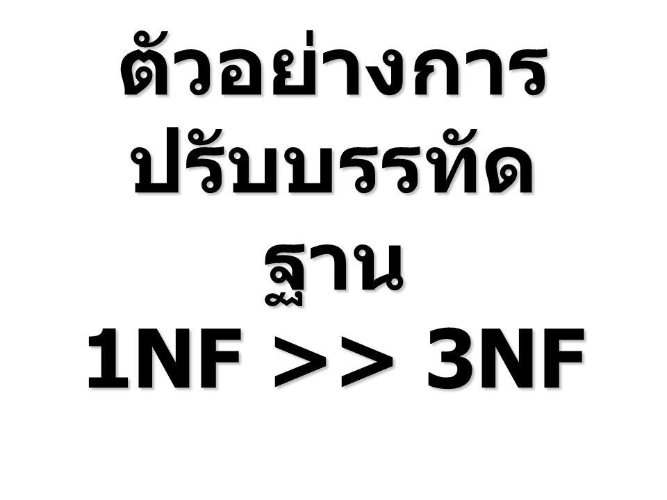 วิธรการปรับจาก 1NF เป็น 2NF ให้แตกรีเลชัน โดยเอากลุ่มแอตทริ บิวต์ที่ขึ้นกับบางส่วนของ Primary ออกเป็นรีเลชันใหม่ Unit PriceP_NameP_IDEmp_NameEmp_IDAddressCus_NameCus_IDBill_DateBill_NoQTYP_IDBill_No