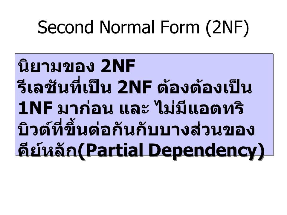 Second Normal Form (2NF) นิยามของ 2NF รีเลชันที่เป็น 2NF ต้องต้องเป็น 1NF มาก่อน และ ไม่มีแอตทริ บิวต์ที่ขึ้นต่อกันกับบางส่วนของ คีย์หลัก (Partial Dep