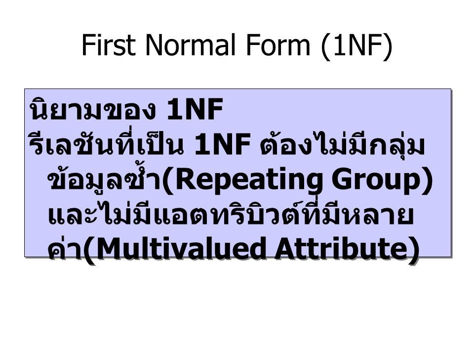 First Normal Form (1NF) นิยามของ 1NF รีเลชันที่เป็น 1NF ต้องไม่มีกลุ่ม ข้อมูลซ้ำ (Repeating Group) และไม่มีแอตทริบิวต์ที่มีหลาย ค่า (Multivalued Attri