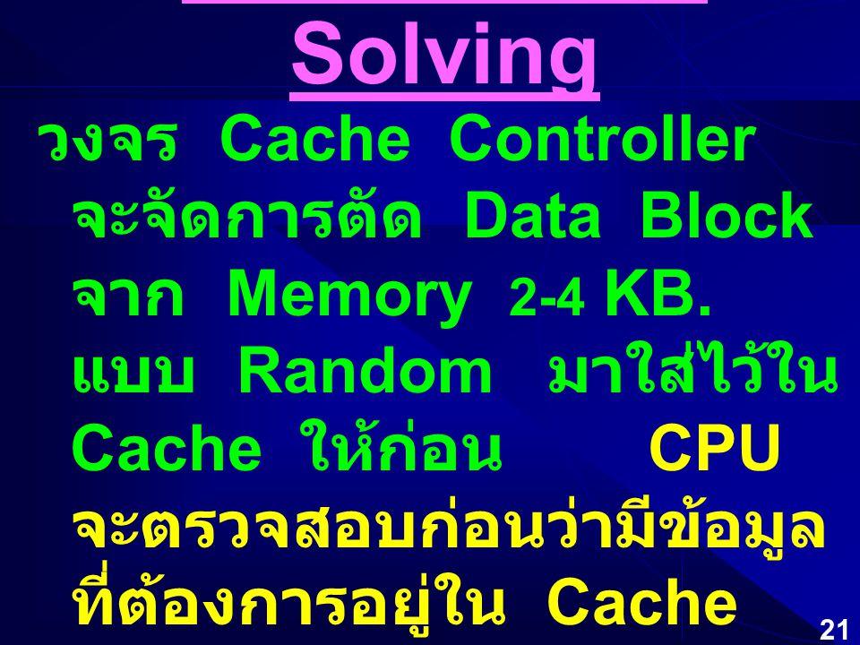 20 WAIT-STATE Solving  Cache Memory หากรวมอยู่กับ CPU เรียกว่า Internal Cache หากติดบนแผงวงจรหลัก เรียกว่า External Cache มีความเร็วสูงมาก ให้ CPU ติ