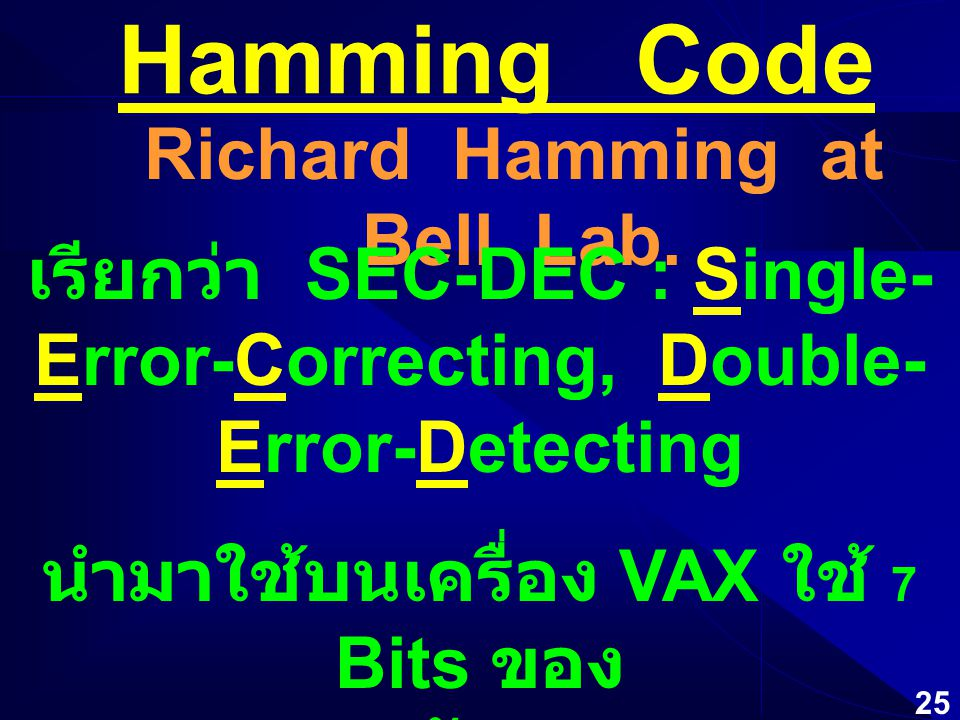 24 ECC Error Checking and Correcting ทั้งตรวจสอบแล้วยังแก้ไขบิตที่ผิดพลาด ได้ด้วย ( ยกเว้นกรณีที่มีข้อมูลผิดพลาดมากๆ ) ECC-RAM มี Overhead การเก็บข้อมูล มากกว่าแบบ Parity