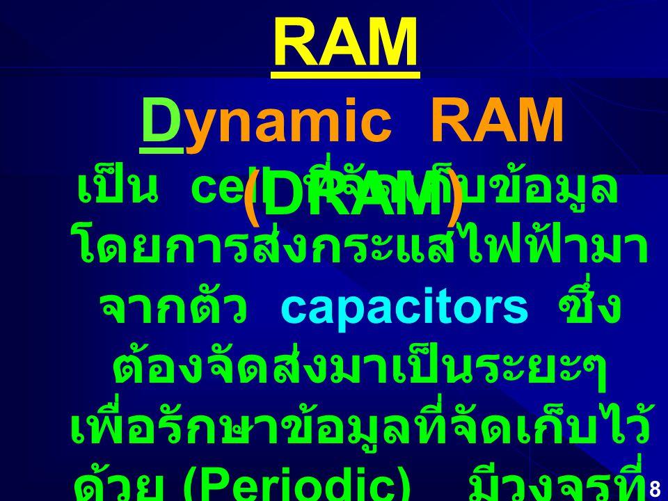 8 RAM เป็น cell ที่จัดเก็บข้อมูล โดยการส่งกระแสไฟฟ้ามา จากตัว capacitors ซึ่ง ต้องจัดส่งมาเป็นระยะๆ เพื่อรักษาข้อมูลที่จัดเก็บไว้ ด้วย (Periodic) มีวงจรที่ อัดแน่นได้มากกว่า จึงมี ราคาที่ถูกกว่า Dynamic RAM (DRAM)