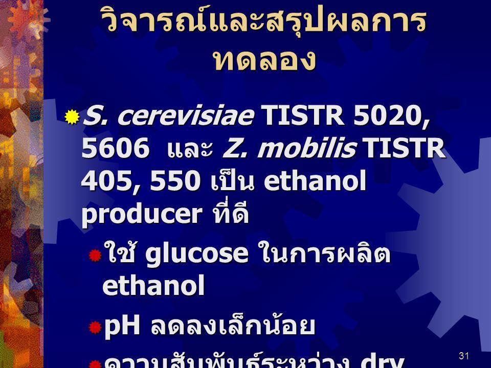 31 วิจารณ์และสรุปผลการ ทดลอง  S. cerevisiae TISTR 5020, 5606 และ Z. mobilis TISTR 405, 550 เป็น ethanol producer ที่ดี  ใช้ glucose ในการผลิต ethano