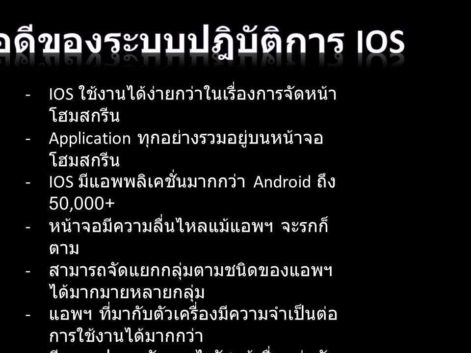 - -IOS ใช้งานได้ง่ายกว่าในเรื่องการจัดหน้า โฮมสกรีน -Application ทุกอย่างรวมอยู่บนหน้าจอ โฮมสกรีน -IOS มีแอพพลิเคชั่นมากกว่า Android ถึง 50,000+ - หน้าจอมีความลื่นไหลแม้แอพฯ จะรกก็ ตาม - สามารถจัดแยกกลุ่มตามชนิดของแอพฯ ได้มากมายหลายกลุ่ม - แอพฯ ที่มากับตัวเครื่องมีความจำเป็นต่อ การใช้งานได้มากกว่า - มีความปลอดภัยจากไวรัสแม้เชื่อมต่อกับ คอมฯ PC - รับคำสั่งและแสดงผลได้เร็วกว่า Android