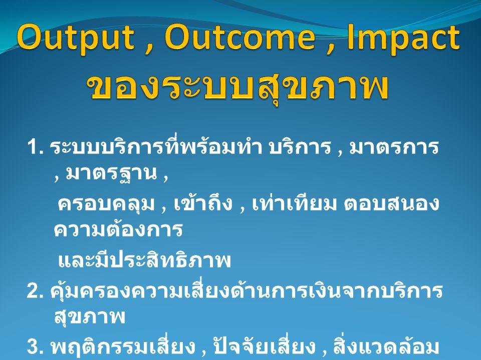 1. ระบบบริการที่พร้อมทำ บริการ, มาตรการ, มาตรฐาน, ครอบคลุม, เข้าถึง, เท่าเทียม ตอบสนอง ความต้องการ และมีประสิทธิภาพ 2. คุ้มครองความเสี่ยงด้านการเงินจา