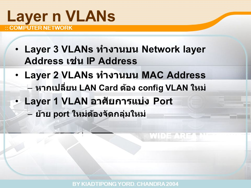 BY KIADTIPONG YORD. CHANDRA 2004 :: COMPUTER NETWORK Layer n VLANs Layer 3 VLANs ทำงานบน Network layer Address เช่น IP Address Layer 2 VLANs ทำงานบน M