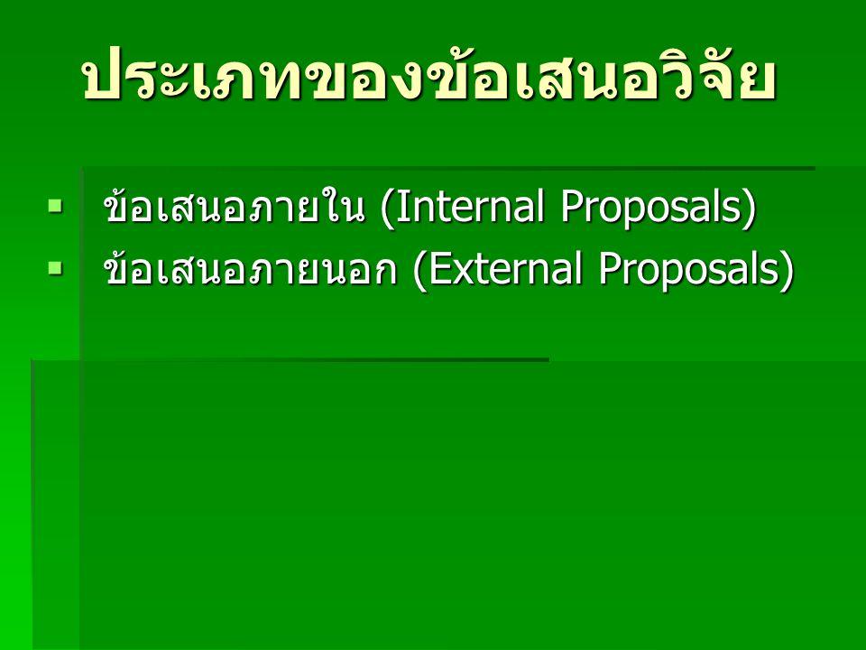 ประเภทของข้อเสนอวิจัย  ข้อเสนอภายใน (Internal Proposals)  ข้อเสนอภายนอก (External Proposals)