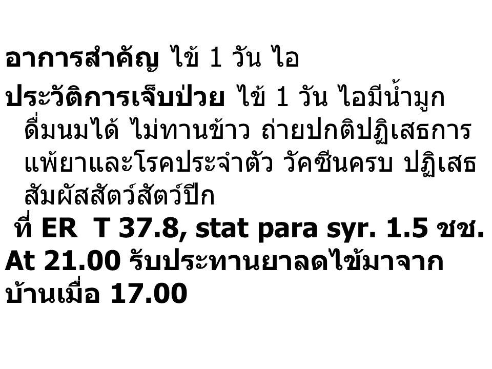 การตรวจร่างกาย  Vital signs : BT 39.3(37.8), PR 0(160), RR 30(48), BP 0/0  EENT: injected conjunctivitis both eyes  Lung: clear  Abdomen : soft Provisional Dx : Influenza virus not indentifiled