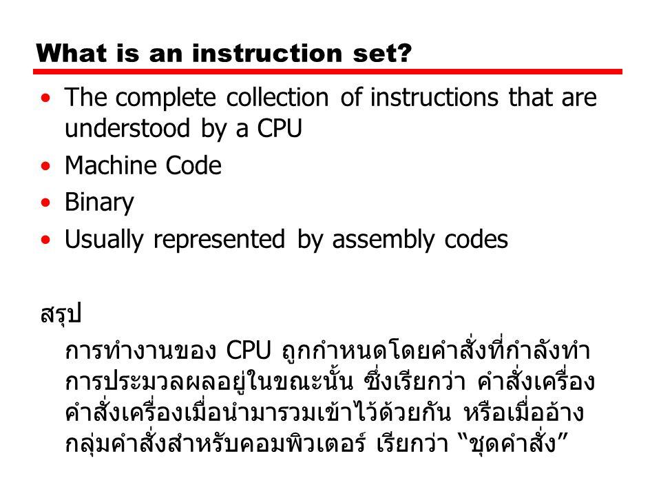 Elements of an Instruction( องค์ประกอบของ ชุดคำสั่ง ) Operation code (Op code) —บอกให้ทราบถึงงานที่ทำ เช่นการบวก หรืองาน I/O Source Operand reference —แหล่งอ้างอิงแหล่งที่มาข้อมูล การทำงานอาจจะมีการ อ้างอิงถึงตัวถูกดำเนินการ หรือที่บอกแหล่งที่เก็บข้อมูลที่ ต้องนำมาใช้ในการกระทำนั้น Result Operand reference —การอ้างอิงแหล่งที่เก็บข้อมูลเมื่อมีการดำเนินการ พูดง่ายๆ คือที่เก็บผลลัพธ์ของการทำงาน Next Instruction Reference —การอ้างอิงคำสั่งถัดไป เป็นการบอกให้ CPU ทราบตำแหน่ง ถัดไปที่จะทำงาน