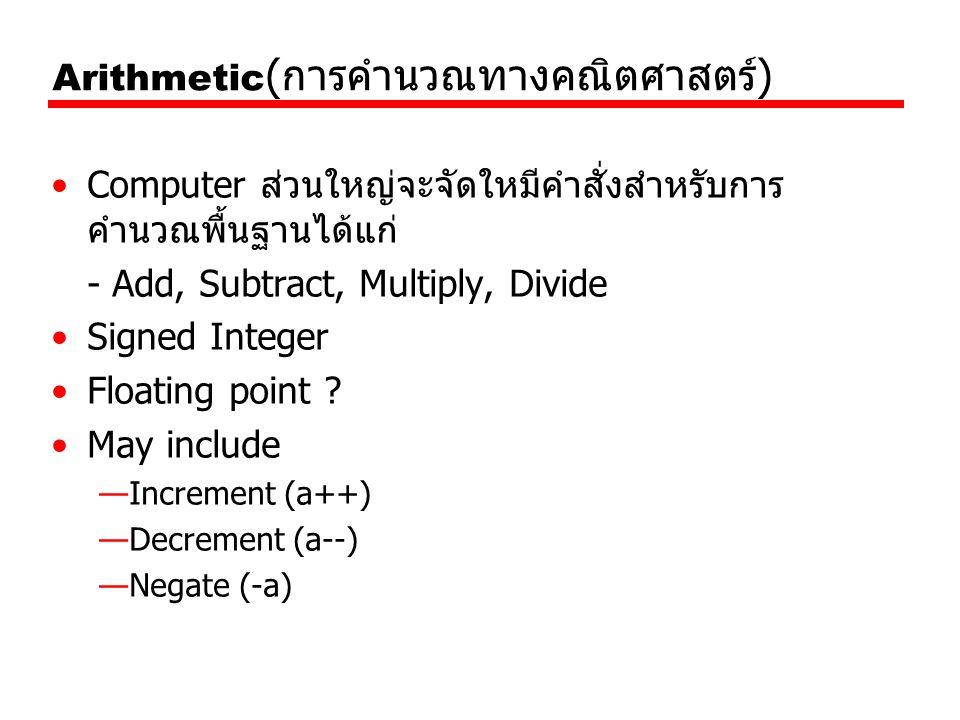 Arithmetic ( การคำนวณทางคณิตศาสตร์ ) Computer ส่วนใหญ่จะจัดใหมีคำสั่งสำหรับการ คำนวณพื้นฐานได้แก่ - Add, Subtract, Multiply, Divide Signed Integer Flo