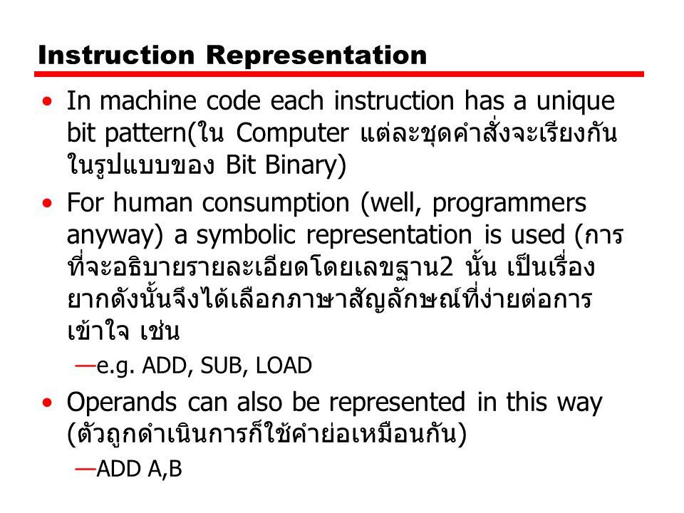 Instruction Representation In machine code each instruction has a unique bit pattern(ใน Computer แต่ละชุดคำสั่งจะเรียงกัน ในรูปแบบของ Bit Binary) For