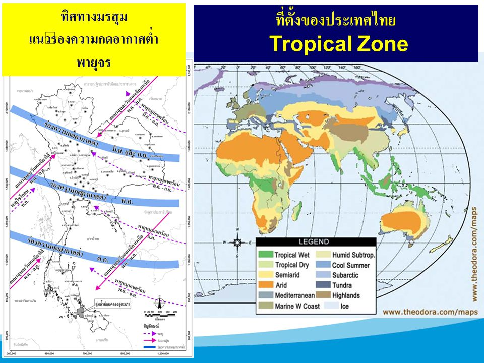 ที่ตั้งของประเทศไทย Tropical Zone ทิศทางมรสุม แนวร่องความกดอากาศต่ำ พายุจร