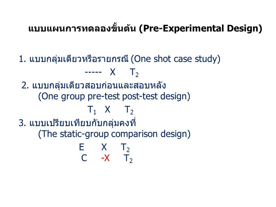 แบบแผนการทดลองขั้นตน (Pre-Experimental Design) 1.