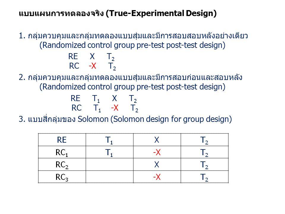 แบบแผนการทดลองจริง (True-Experimental Design) 1.