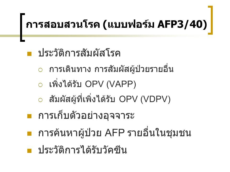 การสอบสวนโรค (แบบฟอร์ม AFP3/40) ประวัติการสัมผัสโรค  การเดินทาง การสัมผัสผู้ป่วยรายอื่น  เพิ่งได้รับ OPV (VAPP)  สัมผัสผู้ที่เพิ่งได้รับ OPV (VDPV)