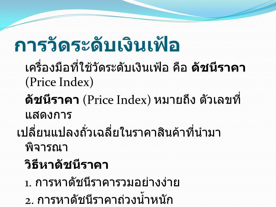 การวัดระดับเงินเฟ้อ เครื่องมือที่ใช้วัดระดับเงินเฟ้อ คือ ดัชนีราคา (Price Index) ดัชนีราคา (Price Index) หมายถึง ตัวเลขที่ แสดงการ เปลี่ยนแปลงถั่วเฉลี