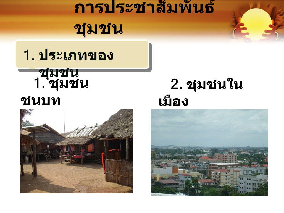 การประชาสัมพันธ์ ชุมชน 1. ชุมชน ชนบท 2. ชุมชนใน เมือง 1. ประเภทของ ชุมชน