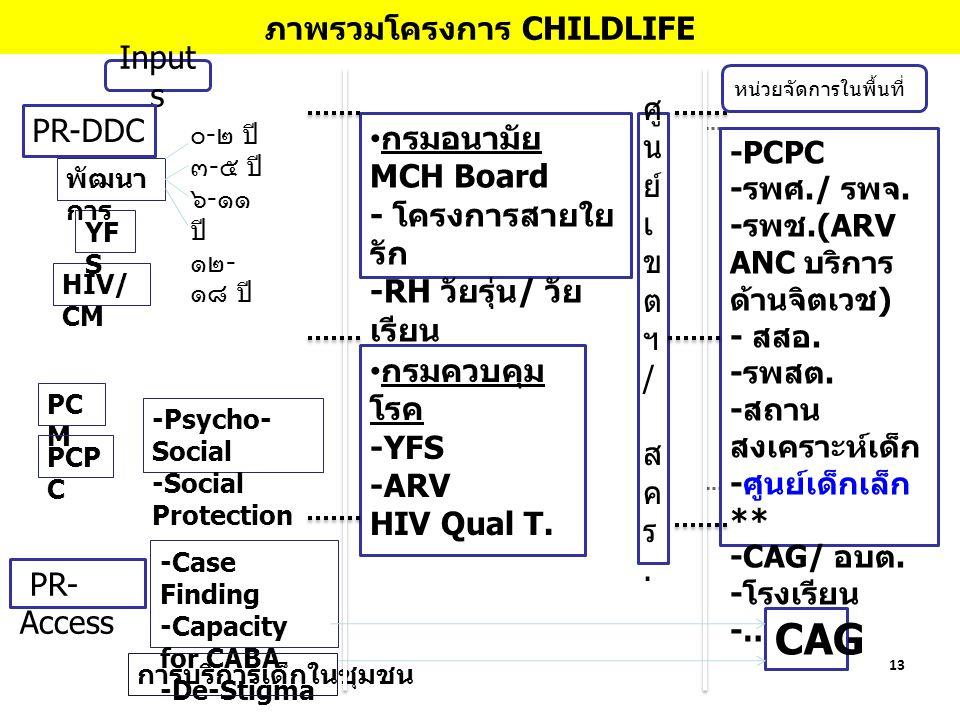 13 ภาพรวมโครงการ CHILDLIFE Input s PR- Access PR-DDC HIV/ CM YF S พัฒนา การ -Psycho- Social -Social Protection ๐ - ๒ ปี ๓ - ๕ ปี ๖ - ๑๑ ปี ๑๒ - ๑๘ ปี -Case Finding -Capacity for CABA -De-Stigma PC M PCP C กรมอนามัย MCH Board - โครงการสายใย รัก -RH วัยรุ่น / วัย เรียน - รร.