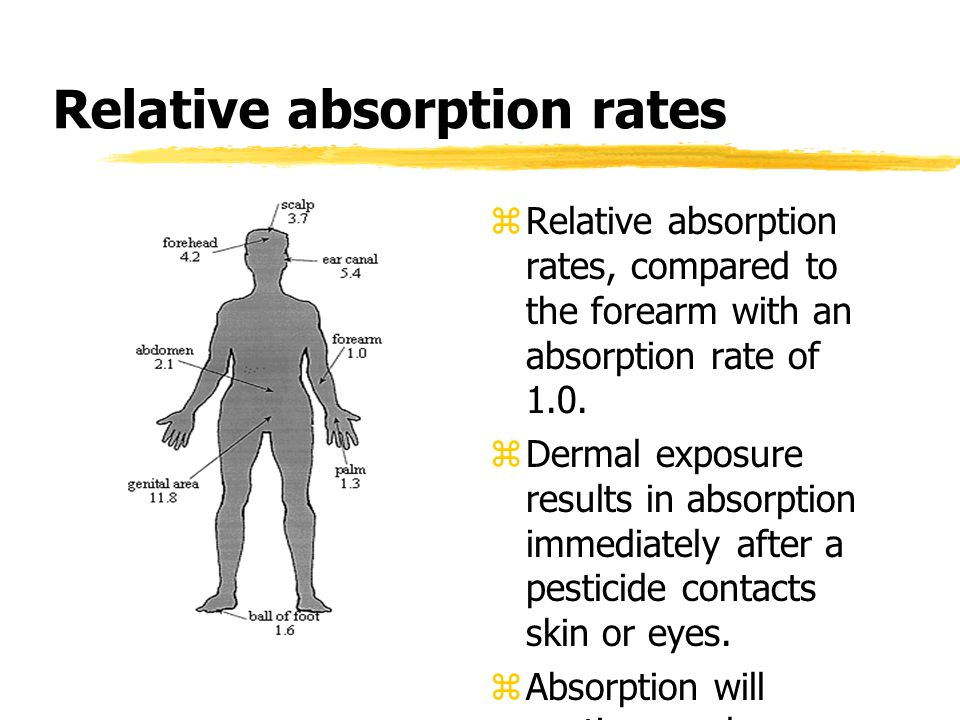 Relative absorption rates  Relative absorption rates, compared to the forearm with an absorption rate of 1.0.