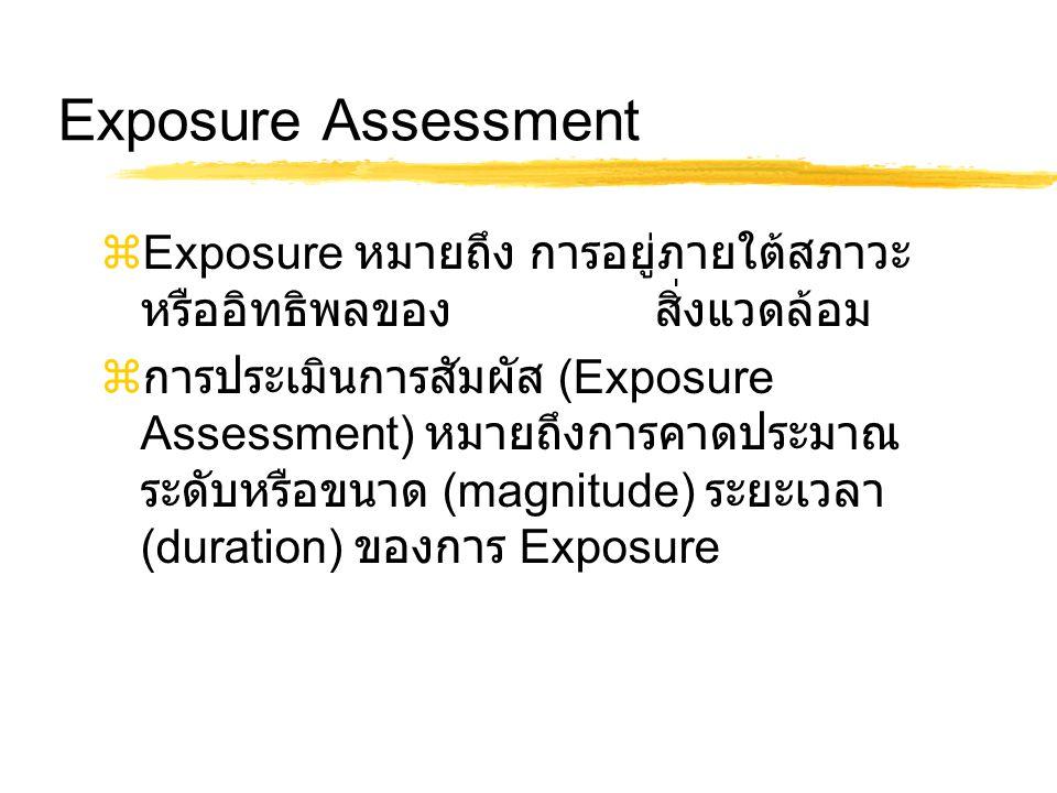 Exposure Assessment  Exposure หมายถึง การอยู่ภายใต้สภาวะ หรืออิทธิพลของ สิ่งแวดล้อม  การประเมินการสัมผัส (Exposure Assessment) หมายถึงการคาดประมาณ ระดับหรือขนาด (magnitude) ระยะเวลา (duration) ของการ Exposure