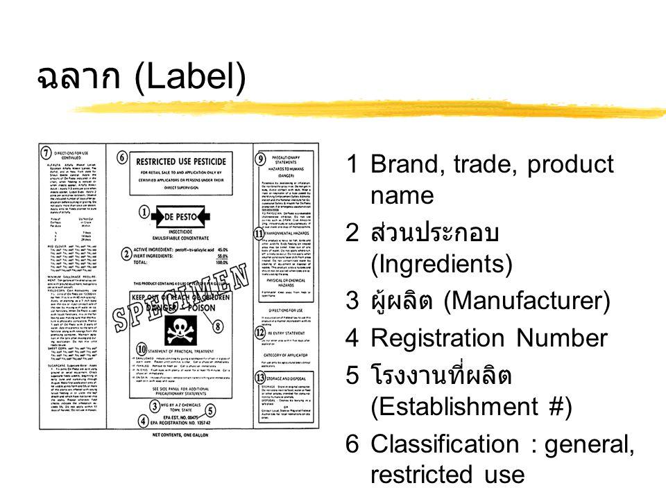 ฉลาก (Label) 1Brand, trade, product name 2 ส่วนประกอบ (Ingredients) 3 ผู้ผลิต (Manufacturer) 4Registration Number 5 โรงงานที่ผลิต (Establishment #) 6Classification : general, restricted use 7Directions for use 8Signal word : caution, warning, danger