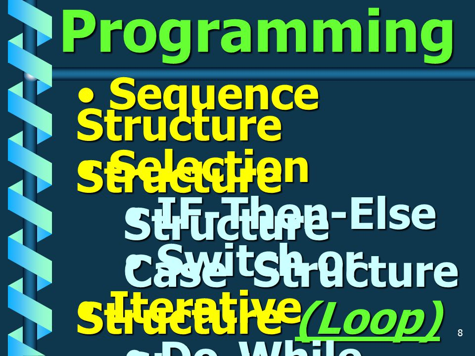 8 Structure Programming Sequence Structure Sequence Structure Selection Structure Selection Structure IF-Then-Else Structure IF-Then-Else Structure Switch or Case Structure Switch or Case Structure Iterative Structure (Loop) Iterative Structure (Loop) Do-While Structure Do-While Structure Do-Until Structure Do-Until Structure