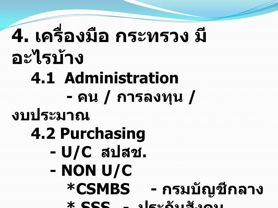 4. เครื่องมือ กระทรวง มี อะไรบ้าง 4.1 Administration - คน / การลงทุน / งบประมาณ 4.2 Purchasing - U/C สปสช. - NON U/C *CSMBS- กรมบัญชีกลาง * SSS - ประก