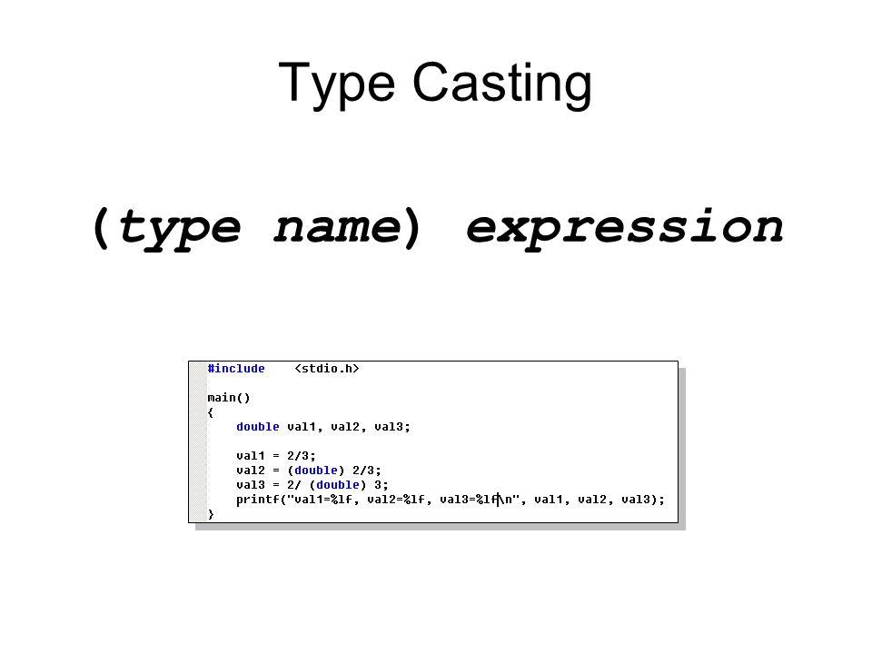 Increment and Decrement Operators ++ (Increment Operator) เพิ่มค่า operand 1 ค่า –Prefix: ++n –Postfix: n++ -- (Decrement Operator) ลดค่า operand 1 ค่า –Prefix: --n –Postfix: n-- Prefix จะกระทำกับตัวแปรแล้วจึงนำค่ามาใช้ Posfix จะนำค่ามาใช้ก่อนการกระทำกับตัวแปร
