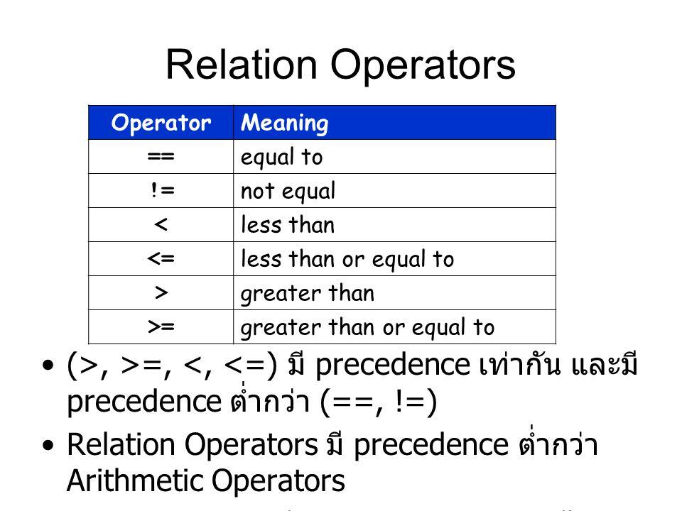 Relation Operators (>, >=, <, <=) มี precedence เท่ากัน และมี precedence ต่ำกว่า (==, !=) Relation Operators มี precedence ต่ำกว่า Arithmetic Operators Ex.